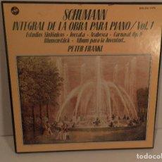 Discos de vinilo: SCHUMANN-INTEGRAL DE LA OBRA PARA PIANO-VO.1 - PETER FRANKL- TRIPLE LP VOX DE 1980. Lote 63428120