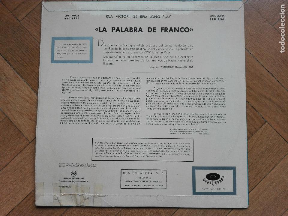 Discos de vinilo: DISCO LP VINILO LA PALABRA DE FRANCO - 25 AÑOS DE PAZ - 1964 SPAIN - Foto 2 - 63674171