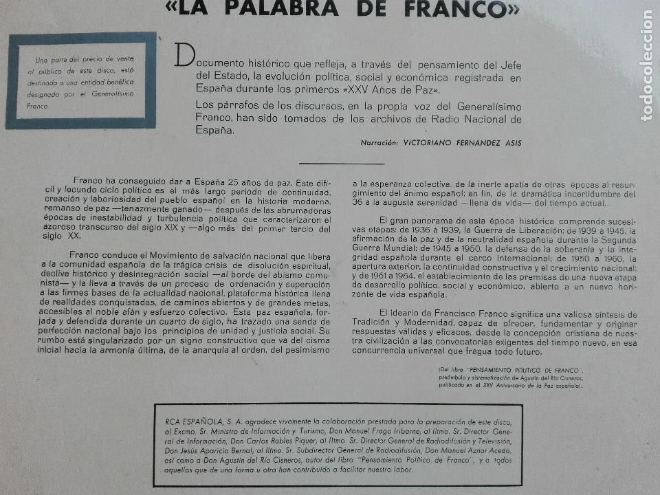 Discos de vinilo: DISCO LP VINILO LA PALABRA DE FRANCO - 25 AÑOS DE PAZ - 1964 SPAIN - Foto 3 - 63674171