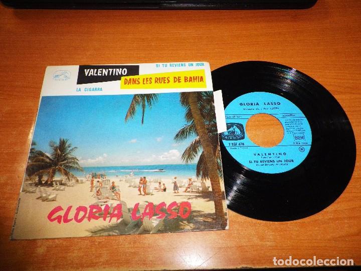 GLORIA LASSO VALENTINO / LA CIGARRA / DANS LEE RUES DE BAHIA/SI TU REVIENS UN JOUR EP VINILO FRANCIA (Música - Discos de Vinilo - EPs - Canción Francesa e Italiana)