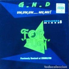 Discos de vinilo: G.N.D. - FOR FUN . MAXI SINGLE . 1992 MAX MUSIC. Lote 32965090