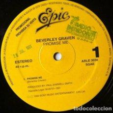 Discos de vinilo: BEVERLEY CRAVEN - PROMISE ME . MAXI SINGLE . 1990 EPIC . ARLE 3030 . PROMOCIONAL. Lote 35343323