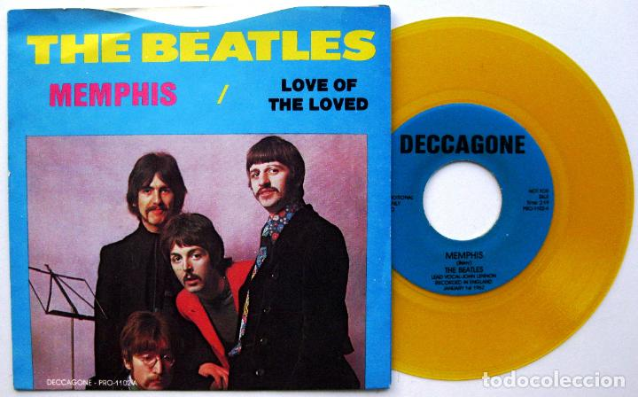 Discos de vinilo: The Beatles - Memphis / Love Of The Loved - Single Deccagone 1976 USA (Vinilo Amarillo) BPY - Foto 1 - 64024919