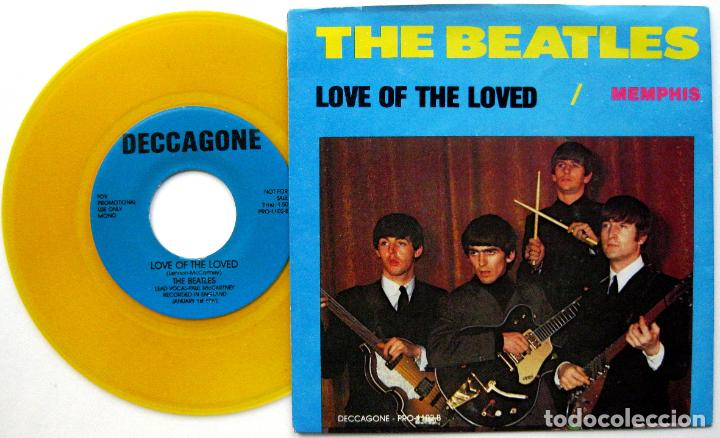 Vinyl records: The Beatles - Memphis / Love Of The Loved - Single Deccagone 1976 USA (Vinilo Amarillo) BPY - Foto 2 - 64024919