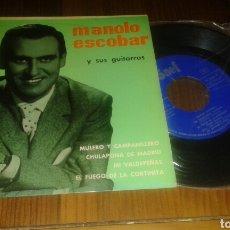 Discos de vinilo: MANOLO ESCOBAR Y SUS GUITARRAS : MULERO Y CAMPANILLERO/CULPALE DE MADRID +2 (SG.1960.SAEF.SF-2052). Lote 64096830