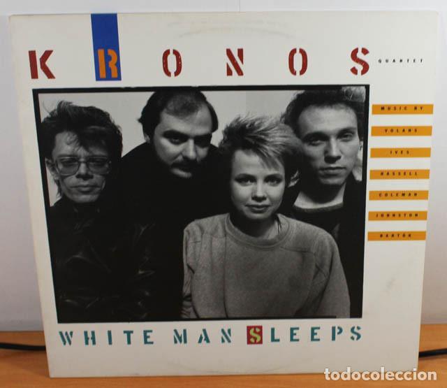 LP KRONOS QUARTET, WHITE MAN SLEEPS, ELEKTRA NONESUCH 79163-1 USA, MUY RARO (Música - Discos - LP Vinilo - Electrónica, Avantgarde y Experimental)