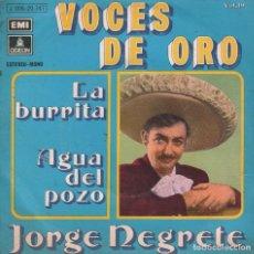 Discos de vinilo: VOCES DE ORO JORGE NEGRETE - LA BURRITA / AGUA DEL POZO - SINGLE ODEON 1971 ,RF-1437. Lote 64199439