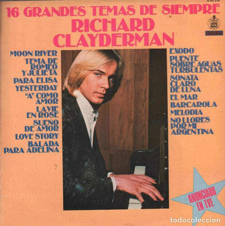 RICHARD CLAYDERMAN - 16 GRANDES TEMAS DE SIEMPRE - LP DELPHINE RECORDS 1979 RF-911 (Música - Discos - LP Vinilo - Clásica, Ópera, Zarzuela y Marchas)