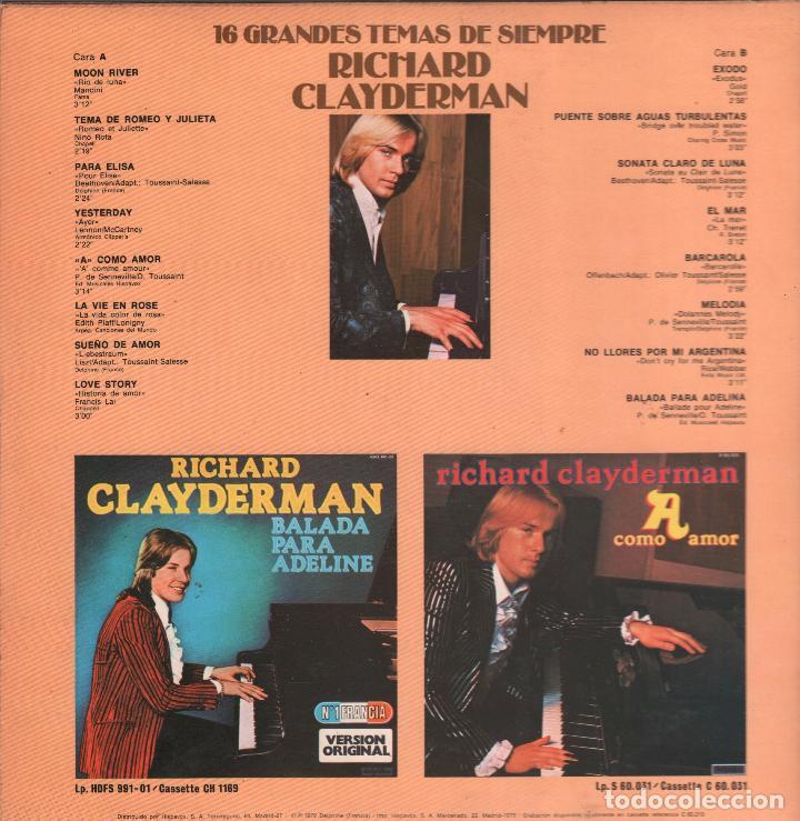 Discos de vinilo: RICHARD CLAYDERMAN - 16 GRANDES TEMAS DE SIEMPRE - LP DELPHINE RECORDS 1979 RF-911 - Foto 2 - 64448199