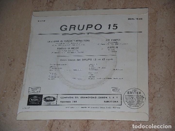Discos de vinilo: GRUPO 15 - LA LLUVIA EL PARQUE Y OTRAS COSAS - CONTIGO ES MEJOR - LOS BIGOTES - BLUES 15- - Foto 2 - 92243073