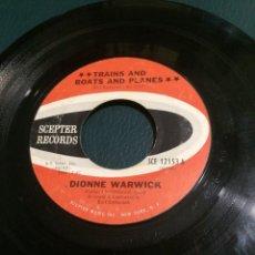 Discos de vinilo: 'TRAINS AND BOATS AND PLANES / DON'T GO..' DE DIONNE WARWICK. SINGLE DE JUKE BOX USA. AÑOS 70. RARO.. Lote 64844483
