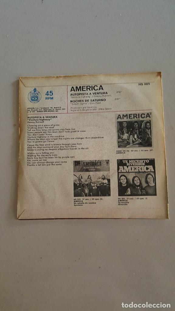 Discos de vinilo: AMERICA - AUTOPISTA A VENTURA (VENTURA HIGWAIT) - NOCHES DE SATURNO 1972 - Foto 2 - 64869551