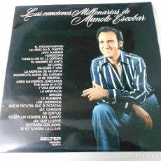 Discos de vinilo: LAS CANCIONES MILLONARIAS DE MANOLO ESCOBAR. DOBLE LP CON 24 CANCIONES. EL POROMPOMPERO. UN BESO EN. Lote 64882919