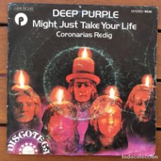 Discos de vinilo: DEEP PURPLE - MIGHT JUST TAKE YOUR LIFE . SINGLE . 1974 PURPLE RECORDS . Lote 64943099