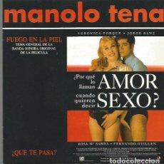 Discos de vinilo: MANOLO TENA SINGLE SELLO EPIC AÑO 1993 EDITADO EN ESPAÑA, PROMOCIONAL BANDA SONORA DE LA PELICULA.... Lote 65033467