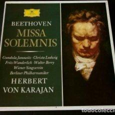 Discos de vinilo: BEETHOVEN (CAJA 2 LPS + LIBRETO 1967) MISSA SOLEMNIS - KARAJAN - DEUTSCHE GRAMMOPHON - OP.123. Lote 65427395