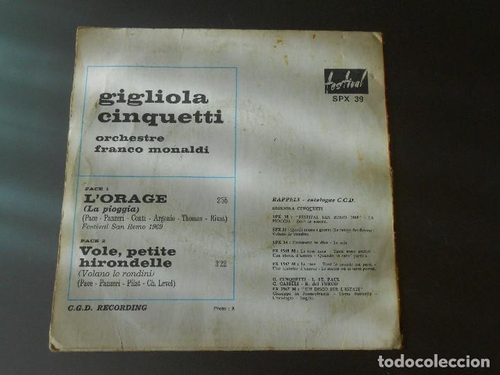 Discos de vinilo: GIGLIOLA CINQUETTI--L´ORAGE - Foto 2 - 65826722
