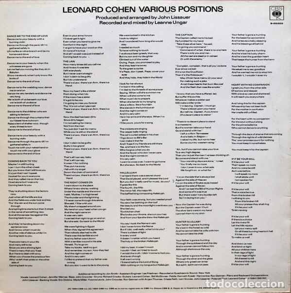 Discos de vinilo: LEONARD COHEN - LP. VARIOUS POSITIONS - ORIGINAL SPAIN 1984 - Foto 2 - 65873422