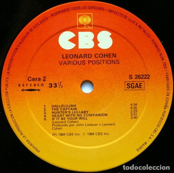 Discos de vinilo: LEONARD COHEN - LP. VARIOUS POSITIONS - ORIGINAL SPAIN 1984 - Foto 4 - 65873422