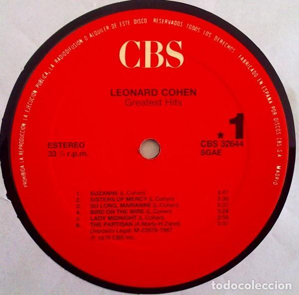 Discos de vinilo: LEONARD COHEN - LP GREATEST HITS - ORIGINAL SPAIN 1987 - Foto 3 - 65877798
