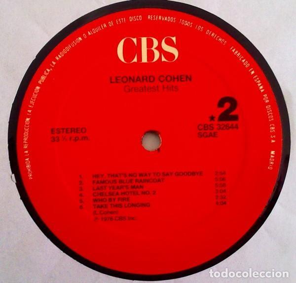 Discos de vinilo: LEONARD COHEN - LP GREATEST HITS - ORIGINAL SPAIN 1987 - Foto 4 - 65877798