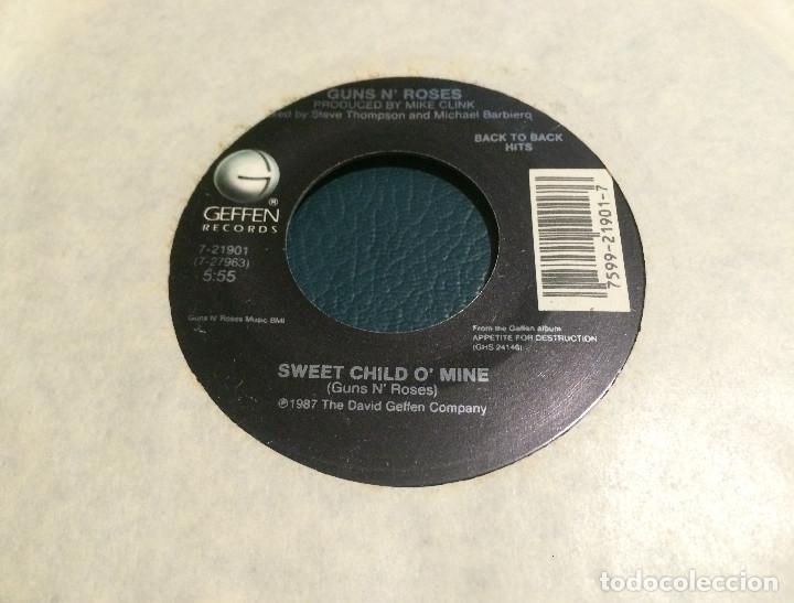 'SWEET CHILD O'MINE / WELCOME TO THE JUNGLE' DE GUNS N' ROSES. SINGLE DE MÁQUINA JUKE BOX USA. 1987 (Música - Discos - Singles Vinilo - Heavy - Metal)