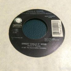 Discos de vinilo: 'SWEET CHILD O'MINE / WELCOME TO THE JUNGLE' DE GUNS N' ROSES. SINGLE DE MÁQUINA JUKE BOX USA. 1987. Lote 206977238