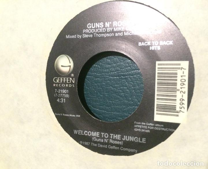 Discos de vinilo: Sweet Child OMine / Welcome to the Jungle de Guns n Roses. Single de máquina juke box USA. 1987 - Foto 3 - 206977238
