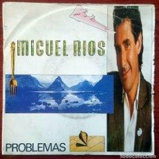 Discos de vinilo: MIGUEL RÍOS: PROBLEMAS / EL AÑO DEL COMETA, SINGLE POLYDOR 885 609-1, SPAIN, 1987. VG+/G.. Lote 66073878