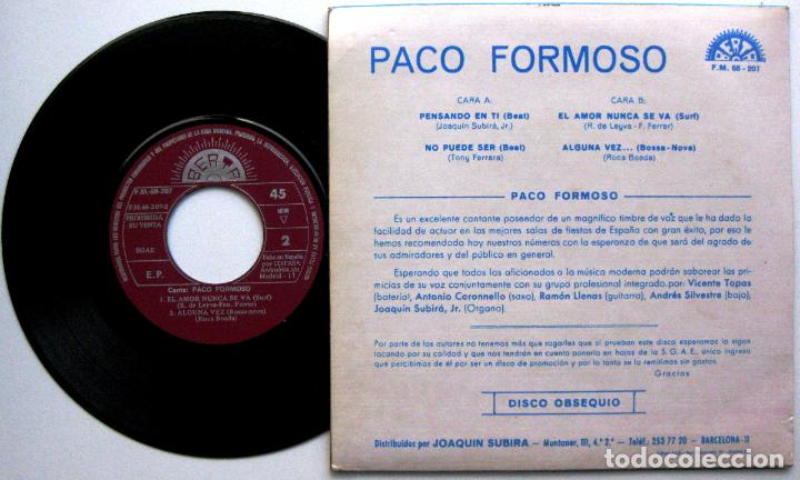 Discos de vinilo: Paco Formoso - Pensando En Ti + 3 - EP Berta PROMO 1972 BPY - Foto 2 - 66488522