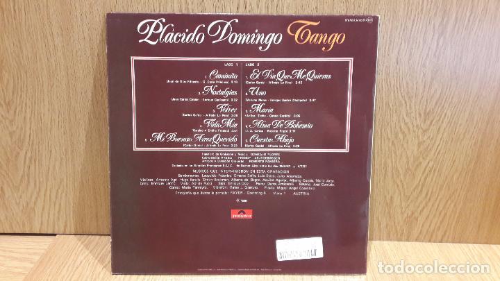 Discos de vinilo: PLÁCIDO DOMINGO. TANGO. LP / POLYDOR - 1981 / CALIDAD LUJO. ****/**** - Foto 2 - 66842542