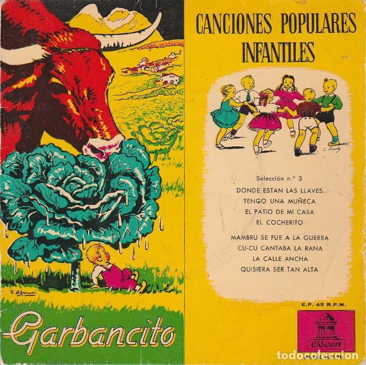 CANCIONES POPULARES INFANTILES + CUENTO (GARBANCITO) EP 1958 (Música - Discos de Vinilo - EPs - Música Infantil)