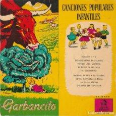 Discos de vinilo: CANCIONES POPULARES INFANTILES + CUENTO (GARBANCITO) EP 1958. Lote 66996558