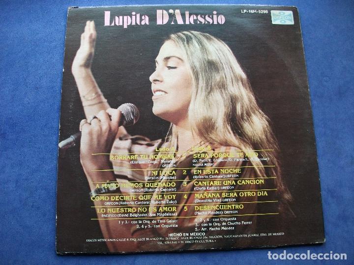 Discos de vinilo: LUPITA D ALESSIO LP ORFEON LP-16H-5298 DISCOS MEXICANOS 1982 CARTON USA PEPETO - Foto 3 - 67052486