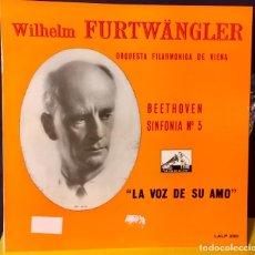 Discos de vinilo: BEETHOVEN SINFONIA Nº5 FURTWANGLER LALP 290 LA VOZ DE SU AMO. Lote 67136781
