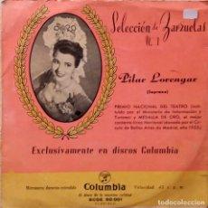 Discos de vinilo: SELECCION DE ZARZUELAS Nº 1. PILAR LORENGAR. EL CANASTILLA DE FRESAS. EP. Lote 67161281