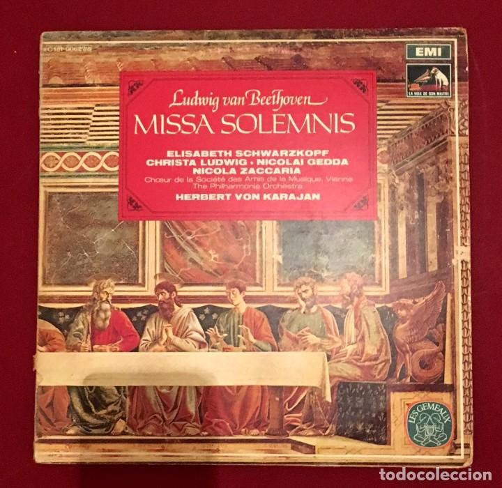 BEETHOVEN - MISSA SOLEMNIS - KARAJAN - ELISABETH SCHWARZKOPF - DOBLE LP (Música - Discos - LP Vinilo - Clásica, Ópera, Zarzuela y Marchas)