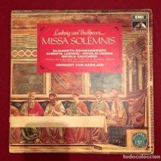 Discos de vinilo: BEETHOVEN - MISSA SOLEMNIS - KARAJAN - ELISABETH SCHWARZKOPF - DOBLE LP. Lote 67189561