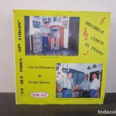 Discos de vinilo: HECHELE CINCO AL PIANO SERGIO QUIROZ OCHOA VINILO LP T62 VG+. Lote 67539497