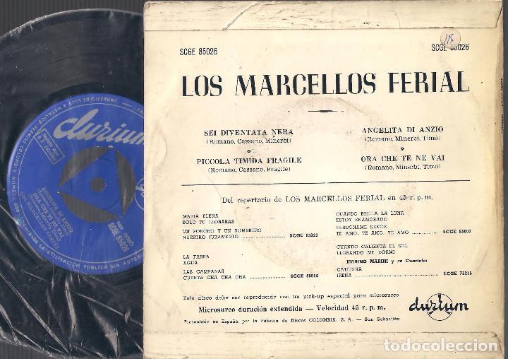 Discos de vinilo: Los Marcellos Ferial - Sei diventata nera + 3 - EP 1964 Durium SCGE 85026 Ed. española - Foto 2 - 67955905