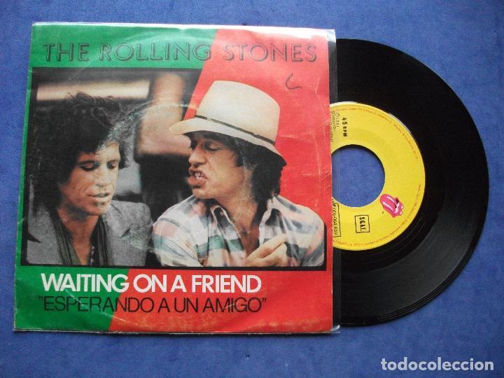 THE ROLLING STONES WAITING ON A FRIEND SINGLE SPAIN 1981 PDELUXE (Música - Discos de Vinilo - Singles - Pop - Rock Internacional de los 80)