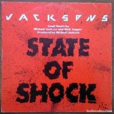 Discos de vinilo: THE JACKSONS ( M. JACKSON - M. JAGGER): STATE OF SHOCK, SINGLE EPIC EPC A-4431. SPAIN, 1984. VG+/VG+. Lote 68203597
