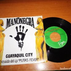 Discos de vinilo: MANO NEGRA GUAYAQUIL CITY SINGLE VINILO PROMO 1990 ESPAÑA MANU CHAO MISMO TEMA MUY RARO. Lote 68222129