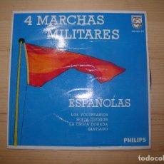 Discos de vinilo: 4 MARCHAS MILITARES ESPAÑOLAS LOS VOLUNTARIOS,LA SEXTA DIVISION,LA ORGIA DORADA.SANTIAGO. Lote 68250189