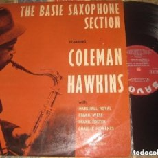 Discos de vinilo: COLEMAN HAWKINS THE BASIE SAXOPHONE(1958?-SAVOY) OG FRANCIA. Lote 68309625