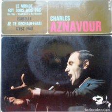 Discos de vinilo: CHARLES AZNAVOUR ''LE MONDE EST SOUS NOS PAS'' DISCO DE VINILO DE 4 CANCIONES EP DEL AÑO 1964 FRANCE. Lote 68329185