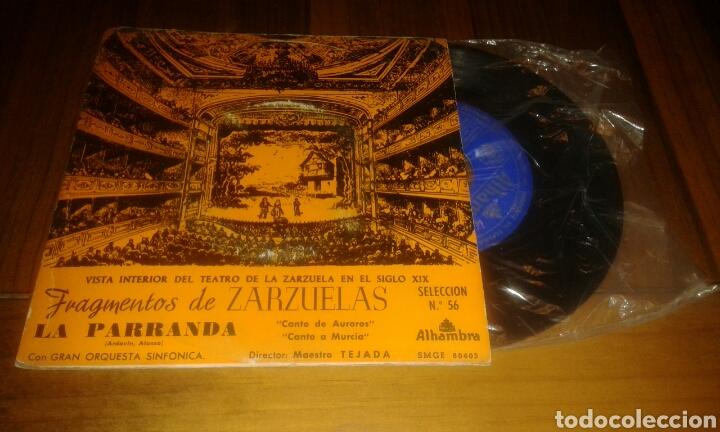 FRAGMENTOS DE ZARZUELAS.LA PARRANDA. SELECCIÓN N° 56 (EP.7P.1960.ALHAMBRA) (Música - Discos de Vinilo - EPs - Clásica, Ópera, Zarzuela y Marchas)