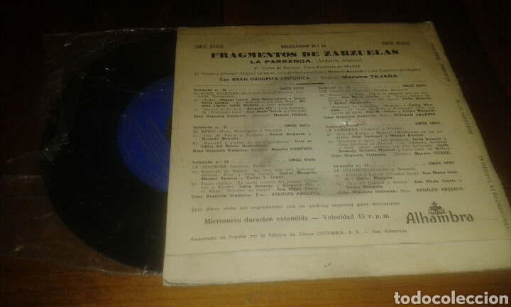 Discos de vinilo: FRAGMENTOS DE ZARZUELAS.LA PARRANDA. SELECCIÓN N° 56 (EP.7p.1960.ALHAMBRA) - Foto 2 - 68353299