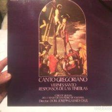 Discos de vinilo: ANTIGUO VINILO CANTO GREGORIANO VIERNES SANTO RESPONSOS DE LAS TINIEBLAS POR JOSEPH GAJARDO O.S.B. . Lote 68382925