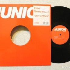 Discos de vinilo: DEEP SENSATION STAY A WHILE MAXI SINGLE VINILO. Lote 68606557
